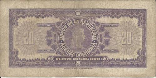 colombia 20 pesos oro 7 agosto 1947