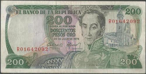colombia 200 pesos 20 jul 1978 bgw335 reposicion r