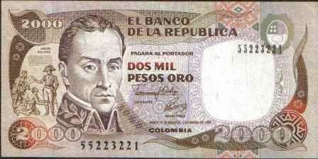 colombia, 2000 pesos 2 mar 1992 bgw450