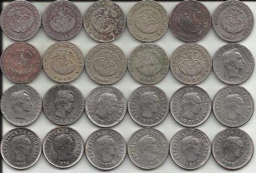 colombia 24 monedas 10 centavos diferente fecha y diseño