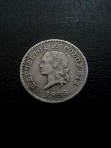 colombia 5 pequeño 1886 cuproniquel vf