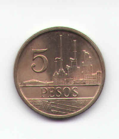 colombia 5 pesos 1988 numeros pequeños *unc*