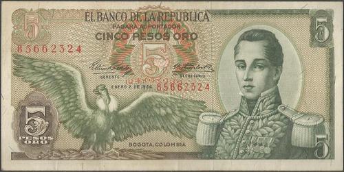 colombia, 5 pesos 2 ene 1964 bgw129
