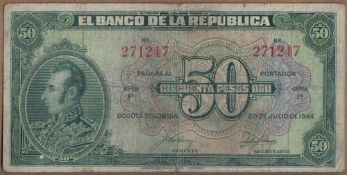 colombia, 50 pesos 20 jul 1944 bgw249