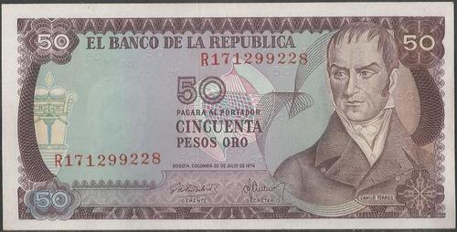 colombia 50 pesos 20 jul 1974 reposicion bgw267