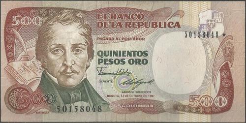 colombia 500 pesos 12 oct 1987 bgw402 reposicion estrella 50