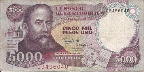 colombia  5000 pesos oro 5 agosto 1986, hecho en alemania