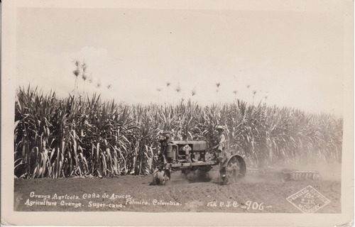 colombia antigua postal granja de caña de azucar en palmira