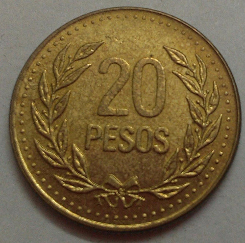 colombia moneda 20 pesos 1992
