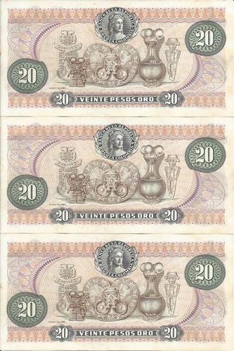 colombia trío números consecutivos,  20 pesos 1 enero 1983