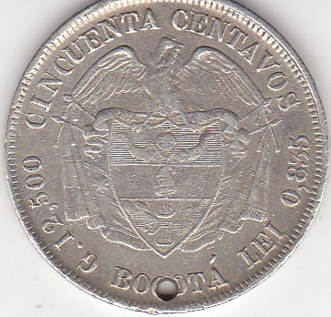colombia,antigua moneda de plata 0,835 50 ctvs. 1.881