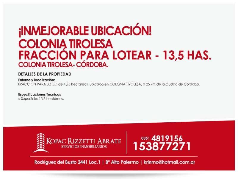 colonia tirolesa. fracc. p/loteo. 13,5ha