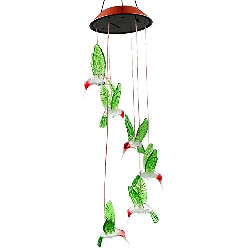 color cambiante led solar mobile wind chime, bukm energía s