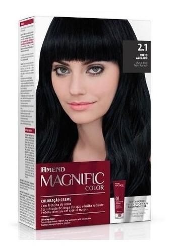 coloração creme magnific color 2.1 preto azulado amend