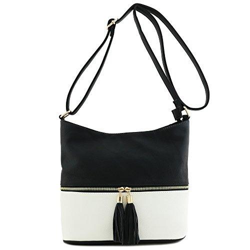 0124c29a3 Colorblock Tassel Zipper Bucket Crossbody Bag Black White ...