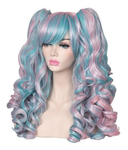 colorground peluca larga rizada para cosplay con 2 coletas t