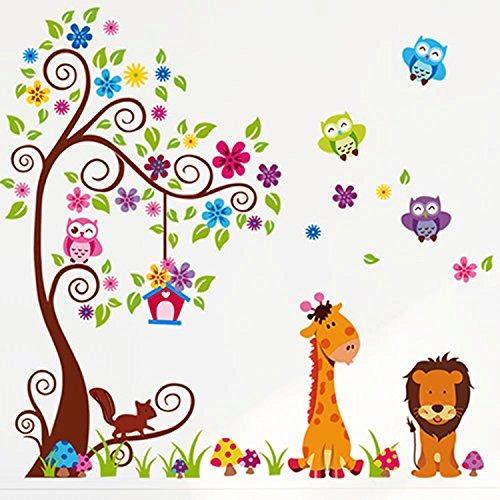 Colorido Buho De Dibujos Animados Bosque Animales Rbol E