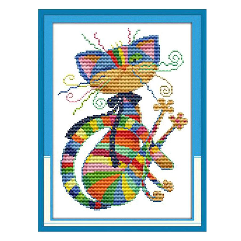 Colorido Padrão Colorido Gráfico Ponto Cruz Gato Needlecaf - R ...