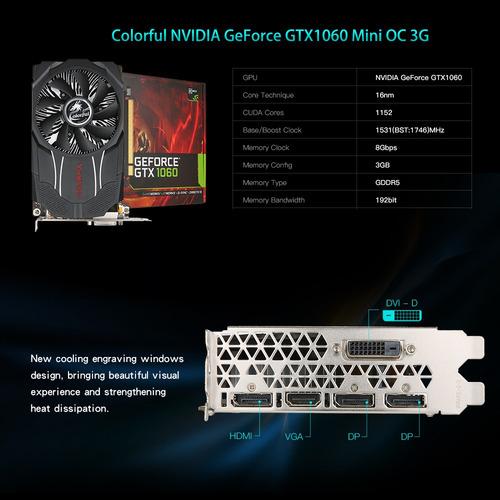 colorido tarjeta grfica nvidia geforce gtx1060 mini oc 3g