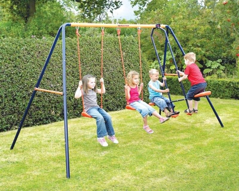 Columpio de acero para 4 ni os reforzado jardin balancin for Columpios infantiles