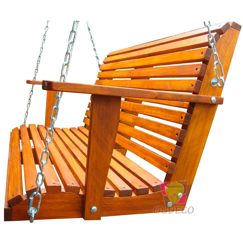 Columpio de madera doble para terraza o jard n bcp 01 - Columpios de terraza ...