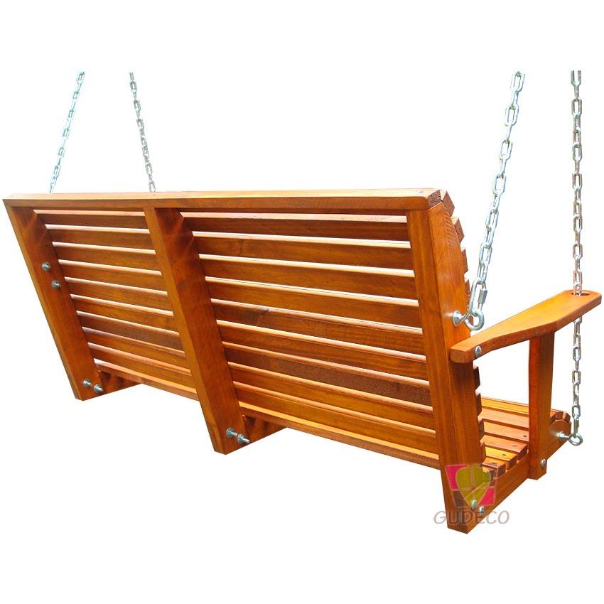 Columpio de madera doble para terraza o jard n bcp 01 for Columpios de madera para jardin