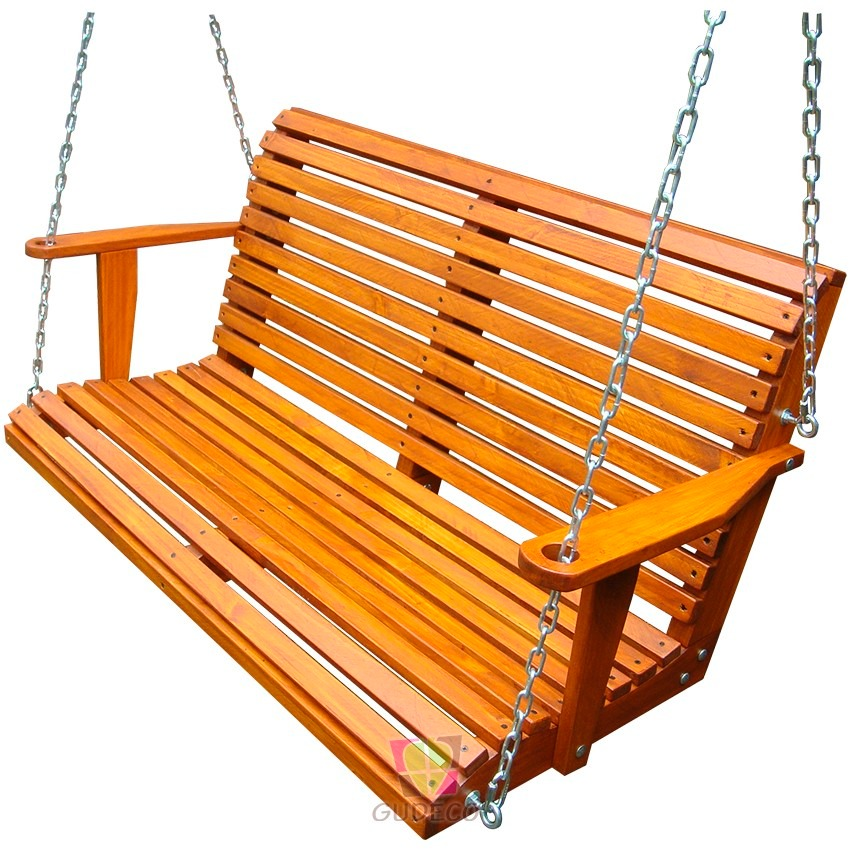 Columpio de madera doble para terraza o jard n bcp 01 for Balancines de madera para jardin