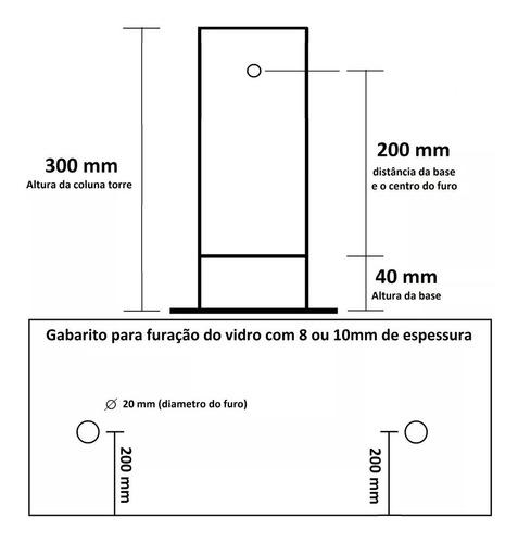 coluna torre aço inox 30cm para guarda corpo pronta entrega