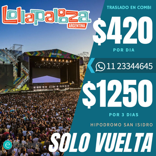 combis charter lollapalooza 2020 3 day pass  puerta a puerta