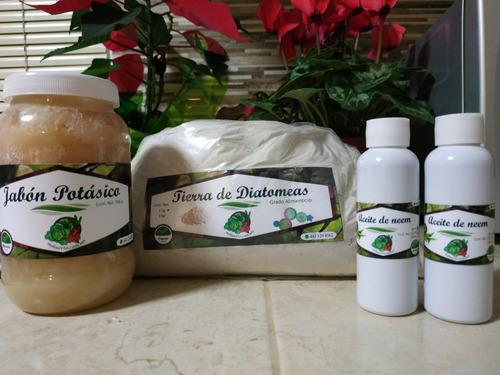 combo 1 tierra diatomeas, 1 jabón potásico, 2 aceite de neem