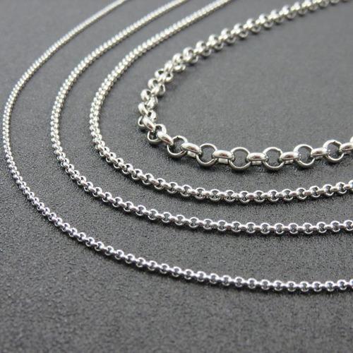 combo 10 cadenas rolo acero quirurgico 3-5-9 mm por mayor