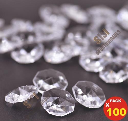 combo 100  caireles  14 mm cristal y argollas x mayor