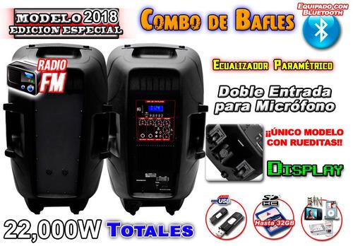 combo 2 bafles15 20000w usb sd karaoke cable ycontrol gratis