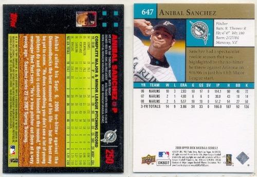 combo 2 barajitas anibal sanchez - pitcher # 1