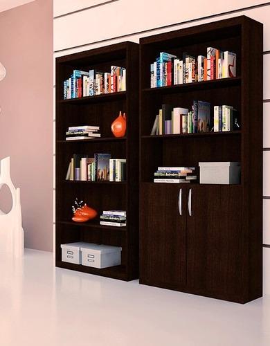 combo 2 bibliotecas 6 estantes 2 puertas modular mueble libr