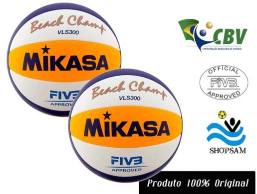 ab023b6e1095a Combo 2 Bolas De Vôlei De Praia Mikasa Vls 300 - R  689
