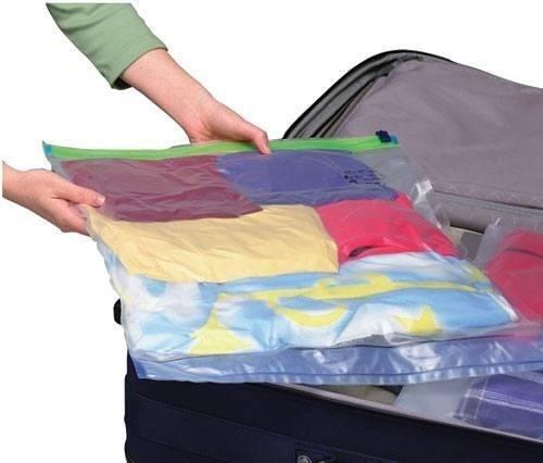combo 2 bolsas empaque al vacio reduce hasta 75% espacio