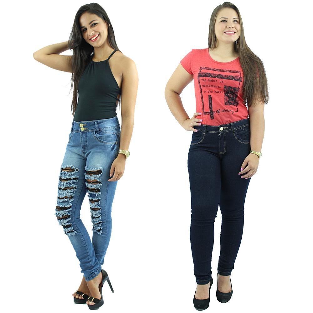 55647f523 combo 2 calças jeans feminina rasgada 36 ao 50 frete grátis. Carregando zoom .