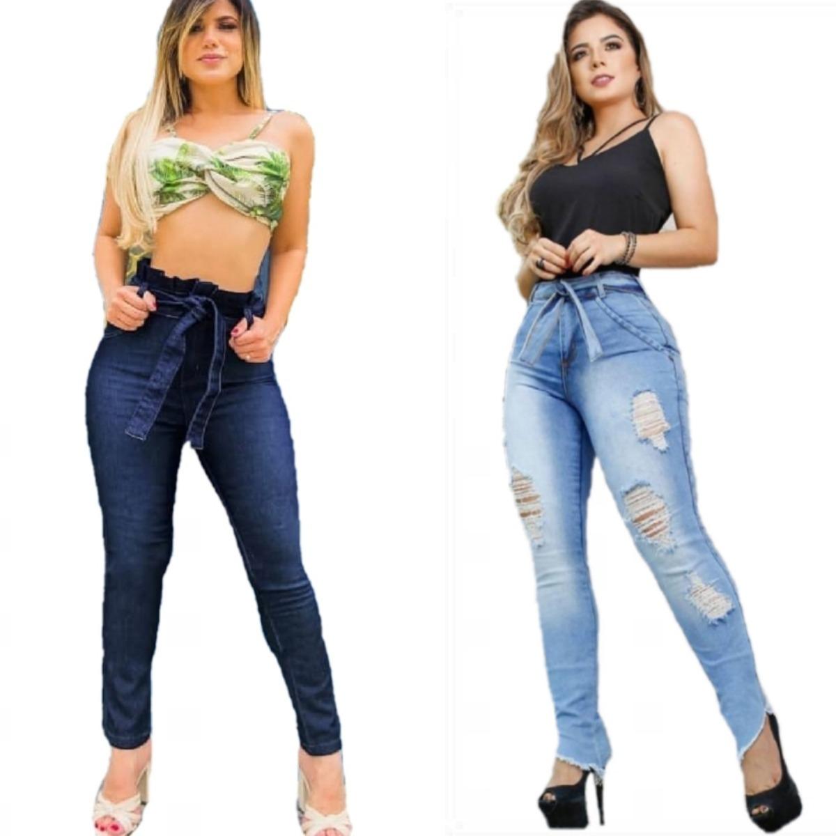 ed2bfd9ce combo 2 calças jeans skinny feminina rasgada cintura alta. Carregando zoom.