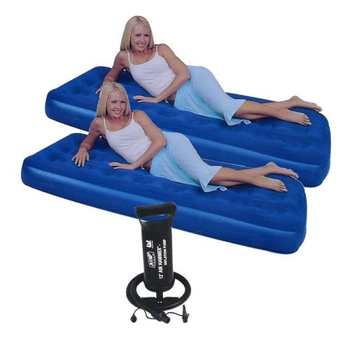 combo 2 colchon inflable 1 plaza + inflador camping carpas