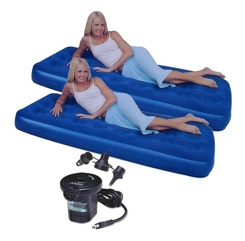 combo 2 colchon inflable 1 plaza + inflador electrico 220v