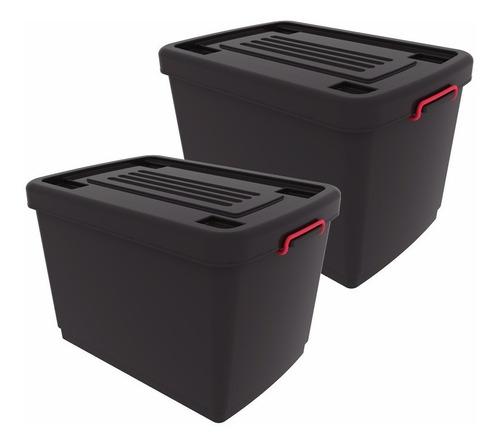 combo 2 contenedores c/ruedas heavy box 95 lts garden life