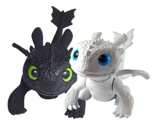 combo 2 figuras chimuelo + furia luminosa bebe juguete cute