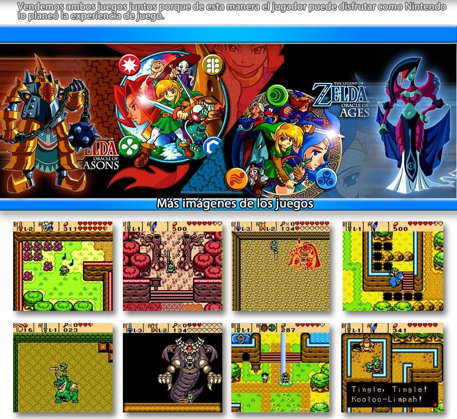 Combo 2 Juegos Zelda Oracle Of Ages Seasons Gb Gba Espanol