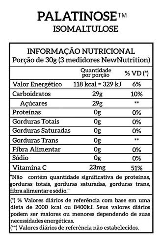 combo 2 palatinose 1kg vários sabores newnutrition