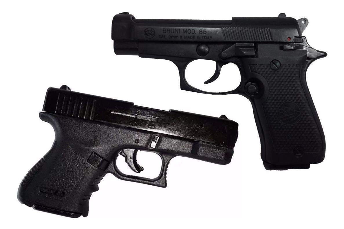 Combo 2 Pistolas Fogueo Bruni Minigap Beretta 85 Salva 9mm