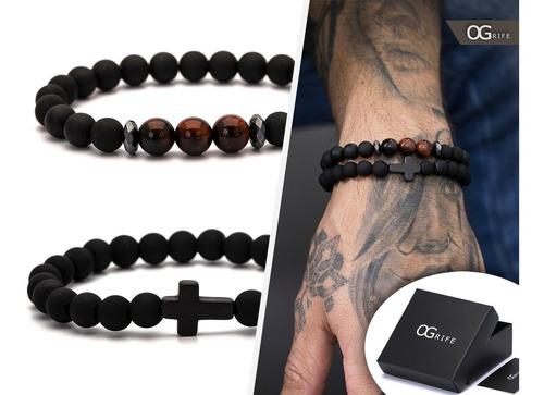 combo 2 pulseira bracelete ogrife j-198 pedra natural tigre