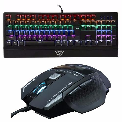 combo 2 teclado gamer aula wings of liberty mouse kill