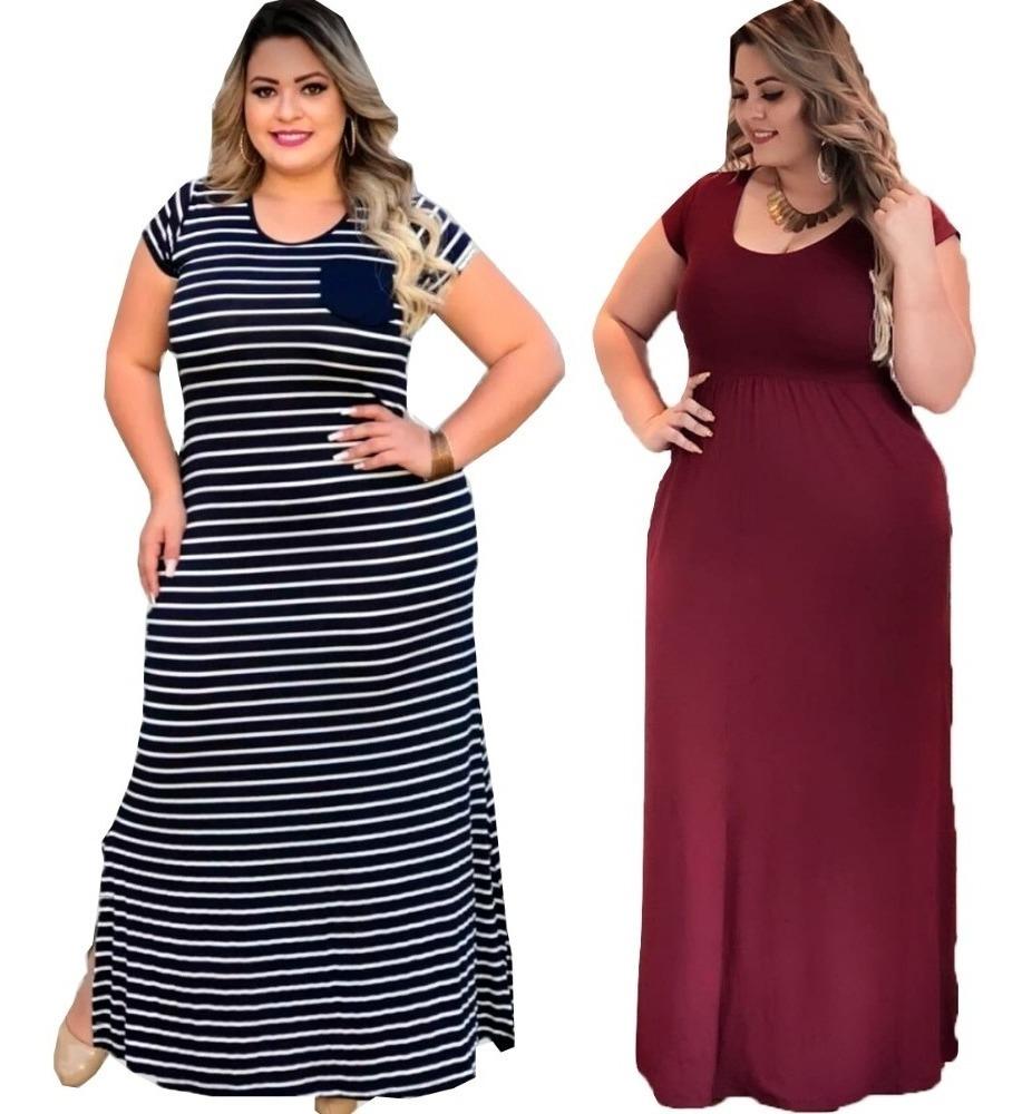 2f78ab4aa578 combo 2 vestidos longo plus size festa elegante feminino. Carregando zoom.