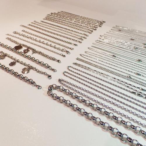 combo 20 cadenas y 20 pulseras acero quirurgico x mayor